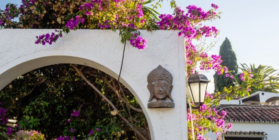 Large finca Marbella Finca Buenaventura terrace buddha