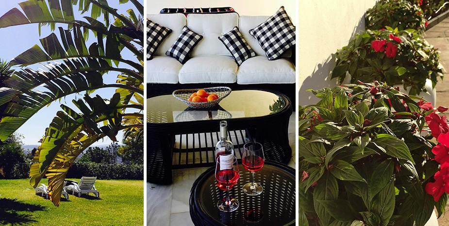 Large villa Estepona Villa Jasmine flowers and seating