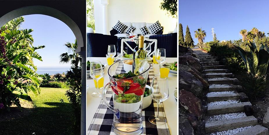 Large villa Estepona Villa Jasmine gardens and outside dining