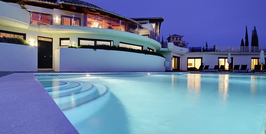 Luxury villa Marbella 10 bedrooms Villa el Cano pool at dusk